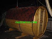 Баня бочка 3,2м с  предбанником, дровяной печкой и кровлей, фото 1