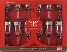 Набор бокалов для шампанского+стопка  Греческий узор GE03-160/164 12 шт