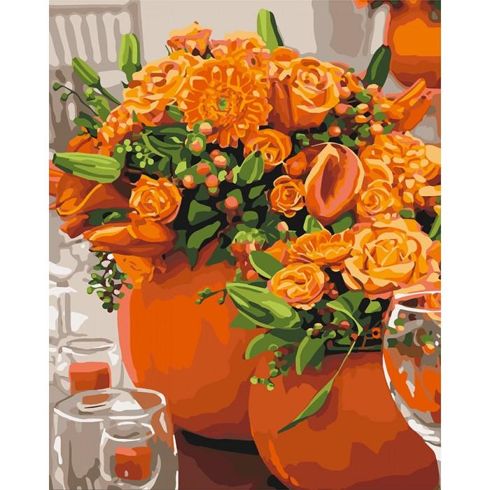 Рисование по номерам Оранжевые букеты KH3066 Идейка 40 х 50 см