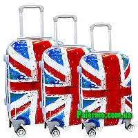 Набор пластиковых чемоданов на колесах (комплект из трех чемоданов) Great Britain, фото 1