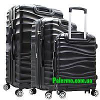 Набор пластиковых чемоданов на колесах (комплект: три чемоданы) Black черные волнистые