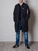 Модний чоловічий довгий бомбер від Olymp - Color: Black, фото 1