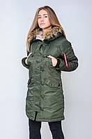 Женская зимняя  аляска цвета хаки от Olymp