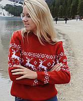 Женский  вязаный  рождественский свитер Джемпер/Гольф (Красный)
