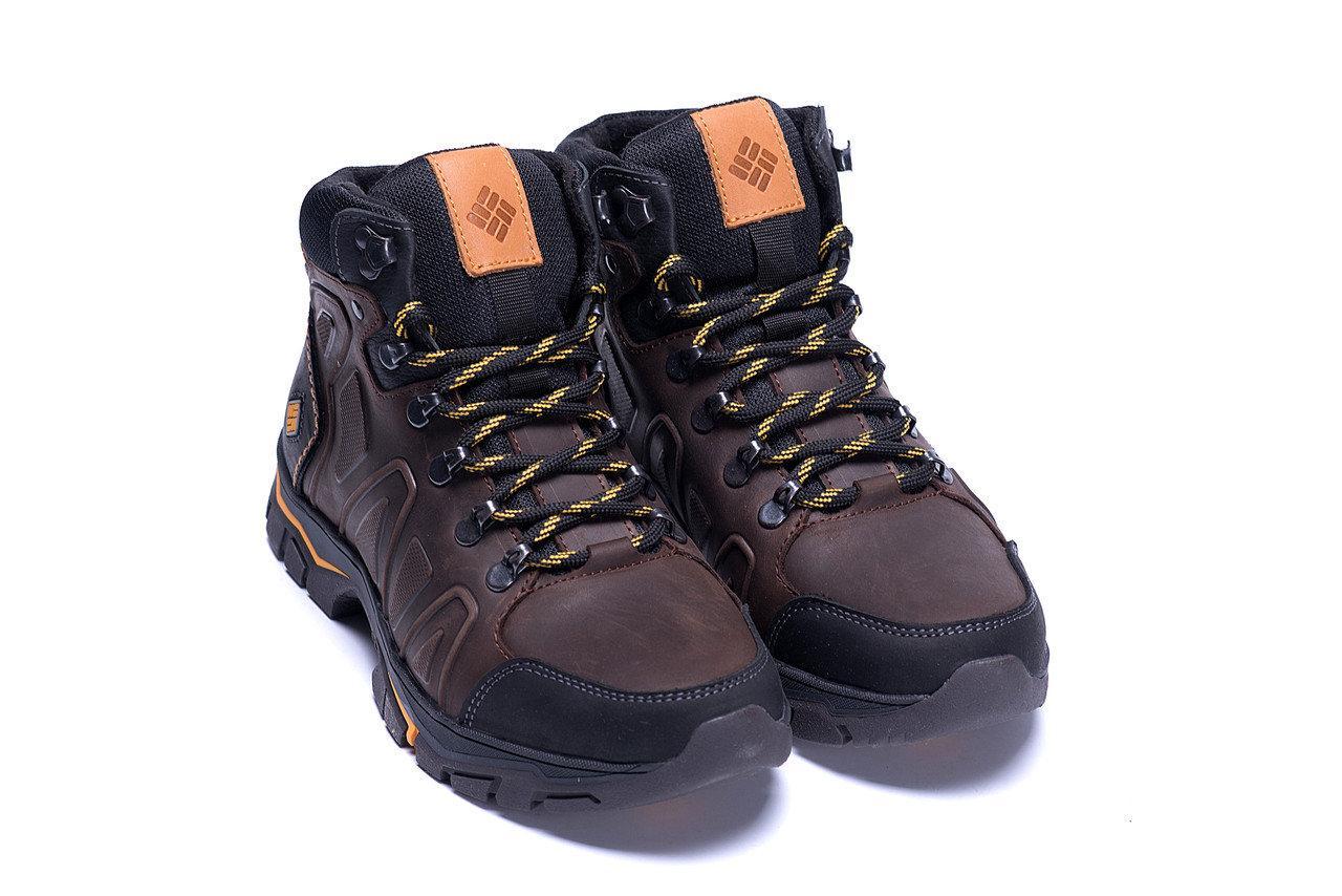 Мужские зимние кожаные ботинки коричневые (40-45) ПК-C-126-6 кор