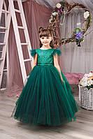 Детское пышное платье для девочки зеленого цвета