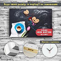 Современный настенный декор для кухни Картинапечать на холсте Печенье Чашка чая 60х40, фото 1