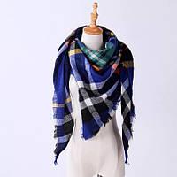 Женский теплый большой шарф платок в клетку треугольный 190х140х140