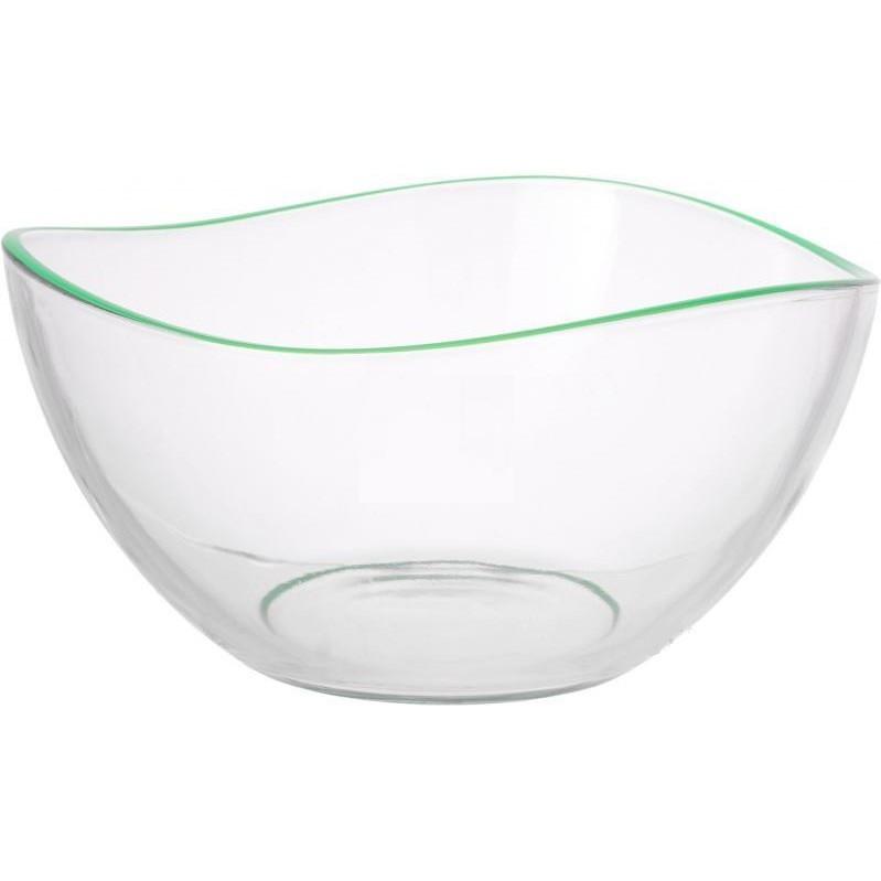 Салатница, окрашенный ободок, 21 см, зеленый