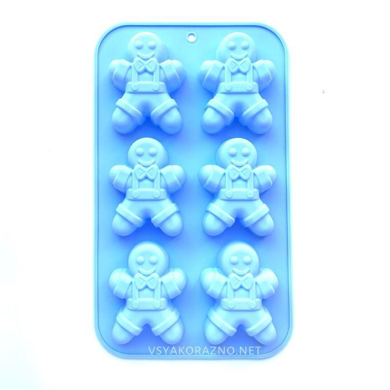Силиконовая форма для выпечки в духовке - пряничный человечек (голубой)