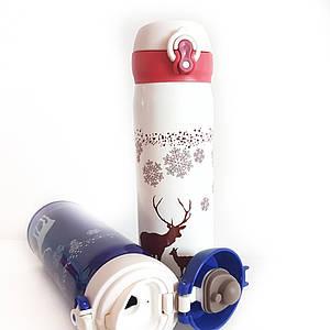 Термос с оленем 500 мл снежинки с поилкой  нержавейка