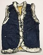 Жилетки оптом на искусственном мехе. Размеры 50-60. Модель жилетка синяя плащевка кролик