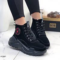 Женские ботинки замшевые на массивной подошве на меху 36 размер, фото 1