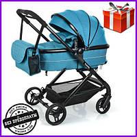 Детская коляска2в1 универсальная комбинированнаяцвет бирюзовый голубой Bambiдетская коляска трансформер