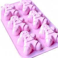 Силиконовая форма для выпечки в духовке - пряничный человечек (розовый)