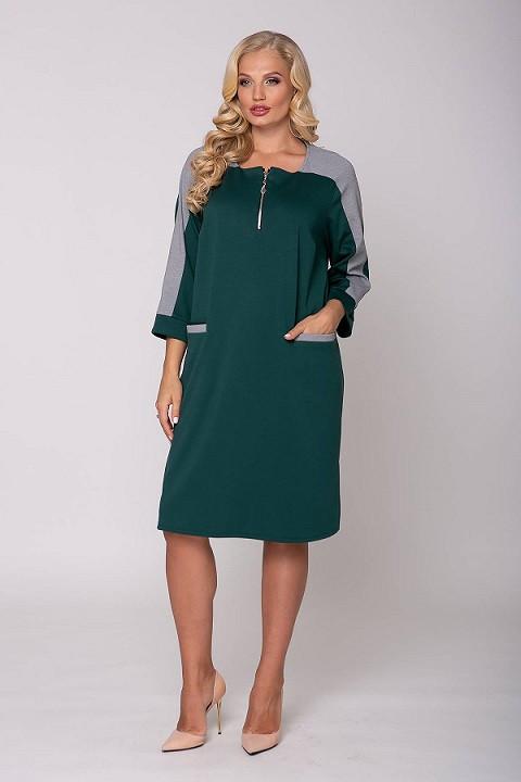 Платье прямого силуэта Жаклин зеленое (54-60)