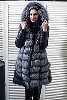 Шуба из чернобурки с кожаными рукавами (Joanne)