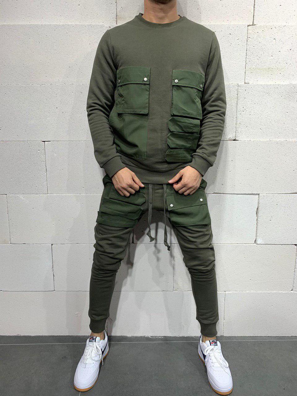 Чоловічий спортивний костюм 2Y Premium brs5115 khaki