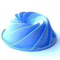 Силиконовая форма для выпечки спираль (Кекс, большой) цвет - голубой
