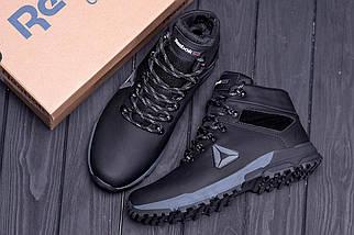 Мужские зимние кожаные ботинки в стиле Reebok Black, фото 2