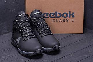 Мужские зимние кожаные ботинки в стиле Reebok Black, фото 3