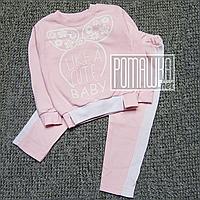 Тёплый стильный р.98 1-2 года детский спортивный костюм на девочку с начёсом на флисе ФУТЕР 5012 Розовый