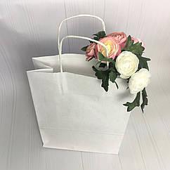 Бумажный пакет с кручеными ручками белый 18*8*21 см