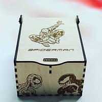 Человек Паук Шкатулка для хранения мелочей Деревянная коробка Подарок для мальчика Еко материал Spider Man
