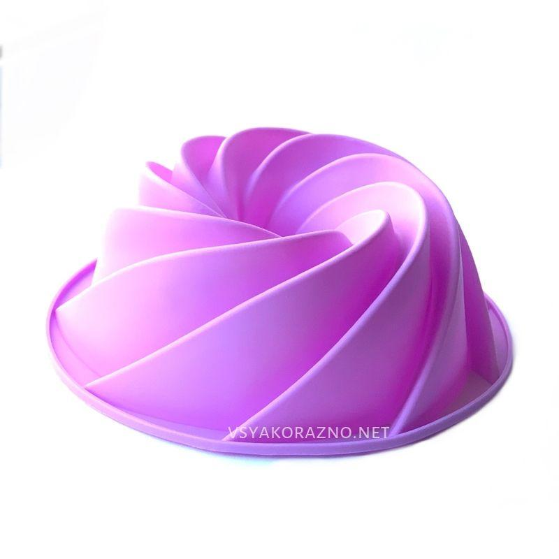 Силиконовая форма для выпечки спираль (Кекс, большой) цвет - сиреневый