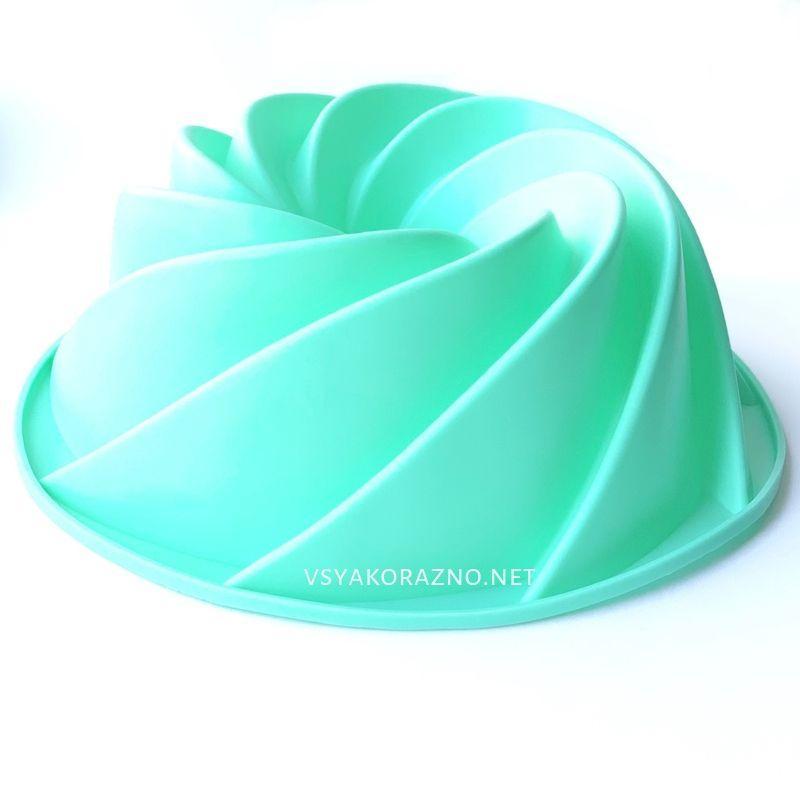 Силиконовая форма для выпечки спираль (Кекс, большой) цвет - мятный