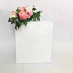 Бумажный пакет с кручеными ручками белый 24*11*32 см