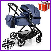 Детская коляска универсальная комбинированная цвет синий Bambi коляска-трансформер 2в1, візок дитячий