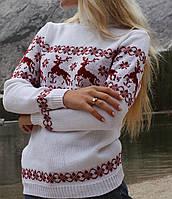 Женский вязаный рождественский свитер Джемпер/Гольф (Белый)