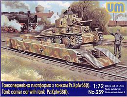 Танкоперевозящая платформа с танком Pz.Kpfw 38(t). 1/72 UM 259