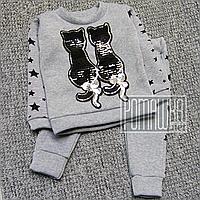 Зимний тёплый р. 104 3 года детский спортивный костюм для девочки детей начёс флис зима ТРЕХНИТКА 4979 Серый
