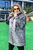 Куртка женская удлиненная батал FREEVER 79296 серая, фото 1