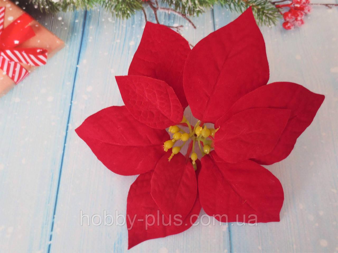 Головка пуансетии бархатная, цвет красный, d 17 см, 1 шт