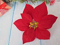 Головка пуансетии бархатная, цвет красный, d 17 см, 1 шт, фото 1