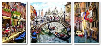 Картина по номерам 50х110 см. Триптих Babylon Венеция во всей красе (VPT 043)