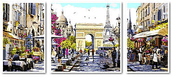 Картина по номерам 50х110 см. Триптих Babylon Париж столица Франции (VPT 046)