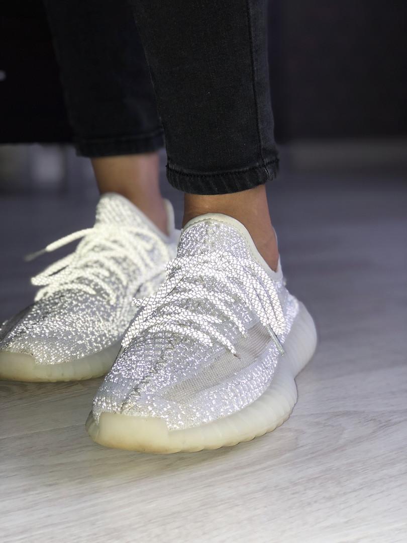 Кроссовки женские Adidas Yeezy 350 full reflective. ТОП качество!!! Реплика