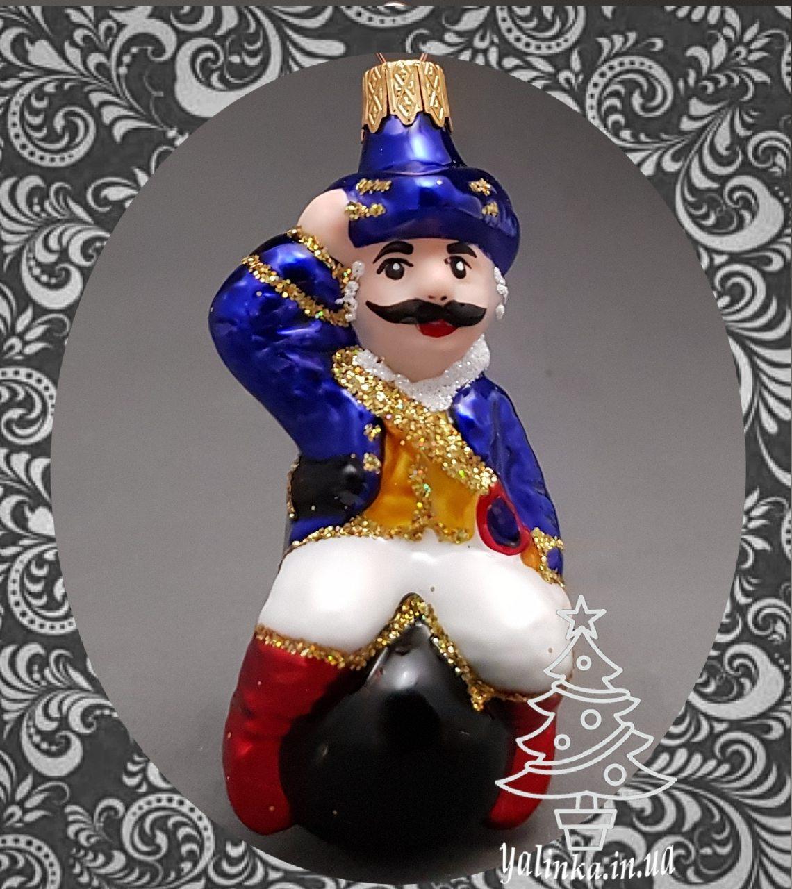 Стеклянная елочная игрушка Барон Мюнхгаузен на ядре 254/с