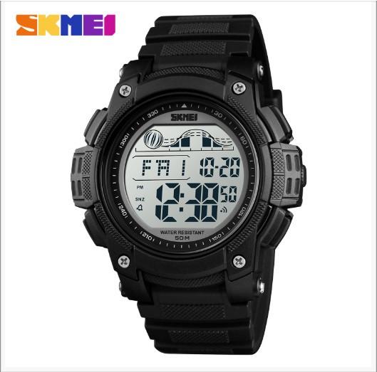 Skmei 1372 черные мужские спортивные часы