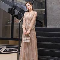 Вечернее платье. Выпускное платье. Вечірня сукня. Золотое платье ручной работы с рукавами