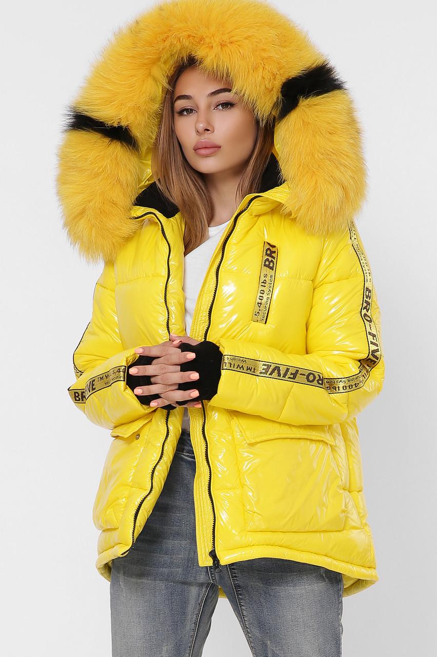 Короткая зимняя женская куртка с натуральным мехом
