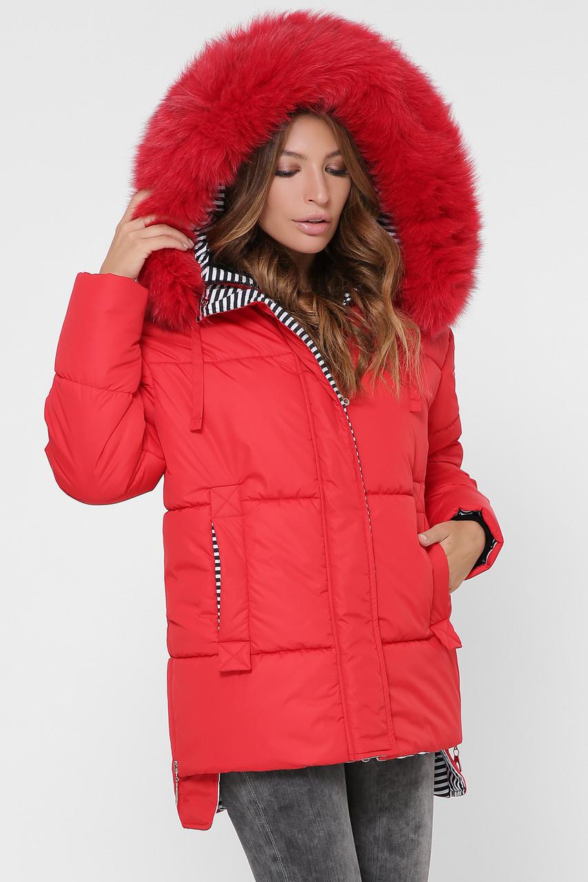 Женская короткая зимняя куртка с мехом песца