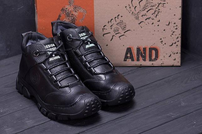 Мужские зимние кожаные ботинки в стиле Yalasou Sport System Black, фото 2