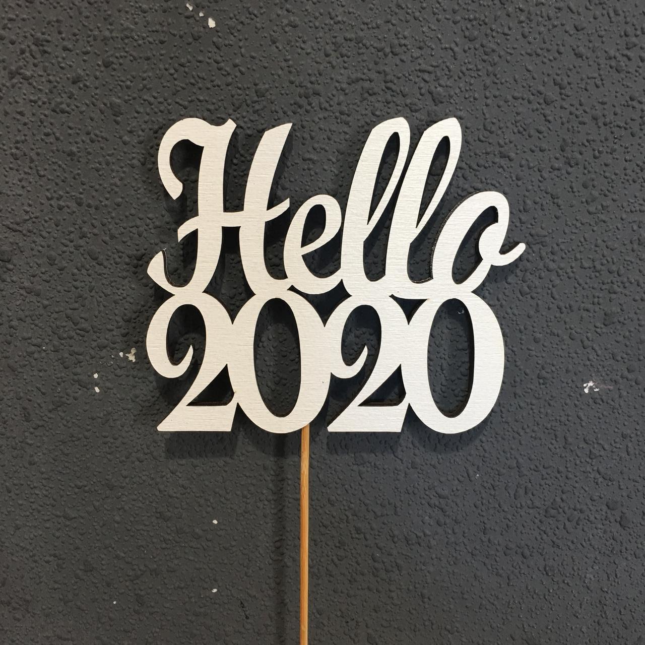 "Топпер деревянное слово ""Hello 2020"""
