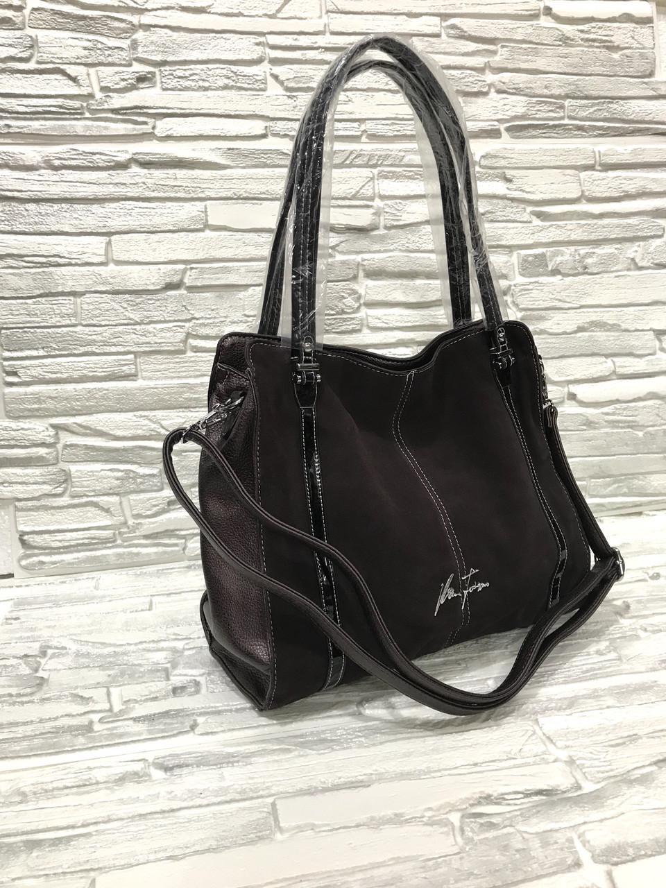 Женская сумка с замшевой вставкой