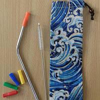 Металлическая трубочка+ершик+мешочек+силикон